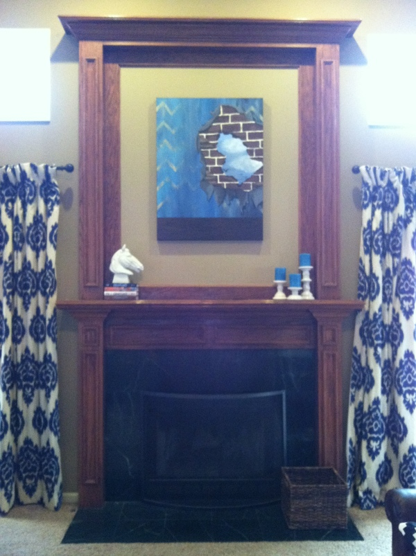 kalah blue curtains fireplace art